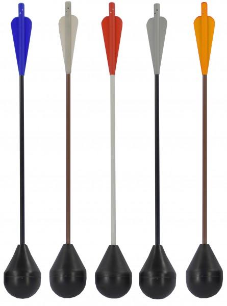 LD LARP-crossbow bolt, black shaft, ultramarine fletching, 43 cm, 02106
