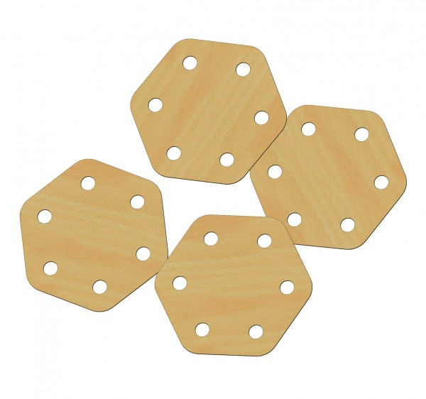 Weaver's board, 6 holes, 6x6 cm, air-ply, polished, rounded