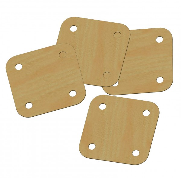 Weaver's board, 4 holes, 6x6 cm, air-ply, polished, rounded