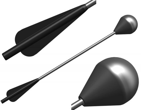 LARP-Armbrustbolzen, schwarzer Schaft, 43 cm (nicht für Mini-Armbrust geeignet)